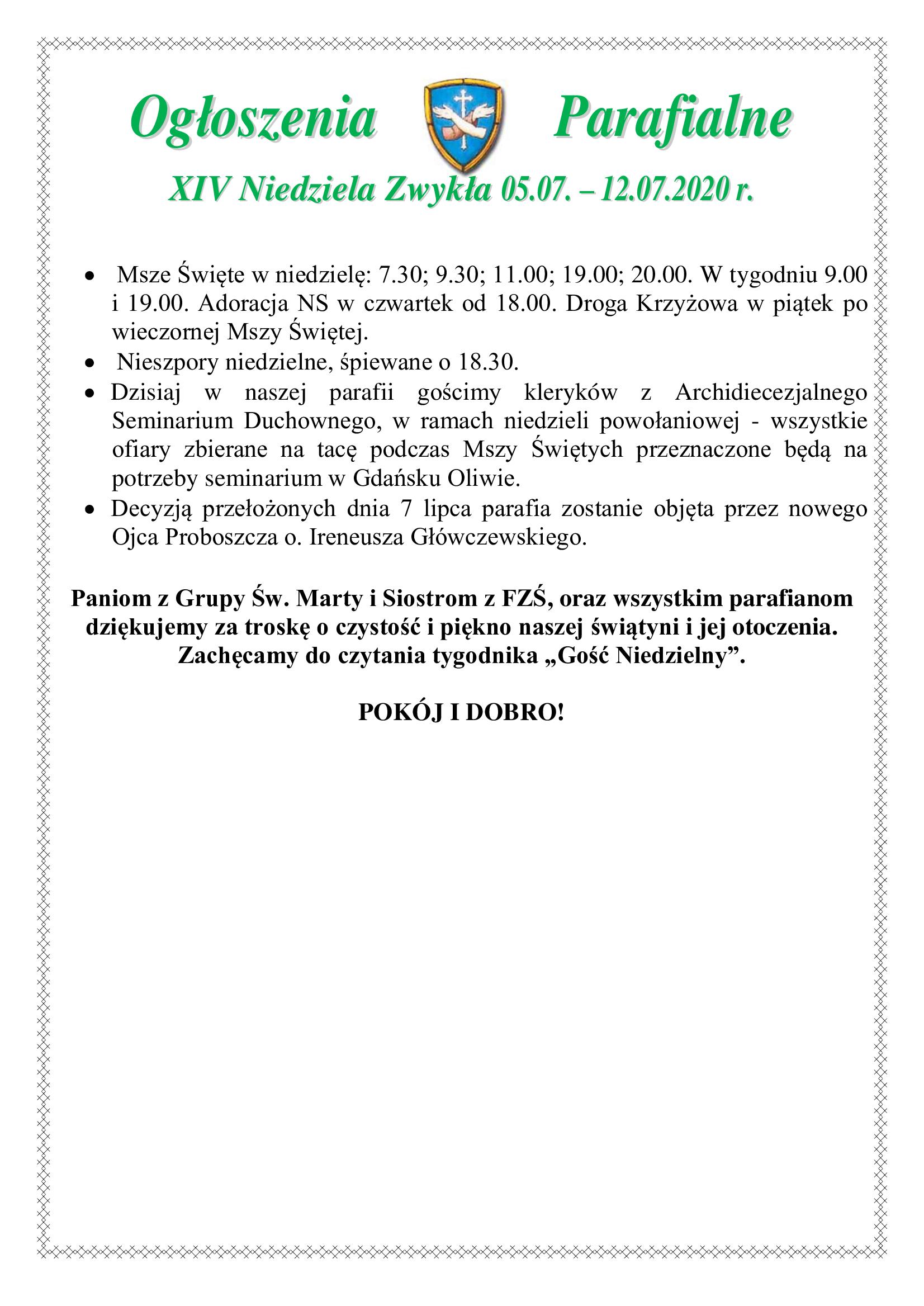 xiv-niedziela-zwykla-2020-ogloszenia
