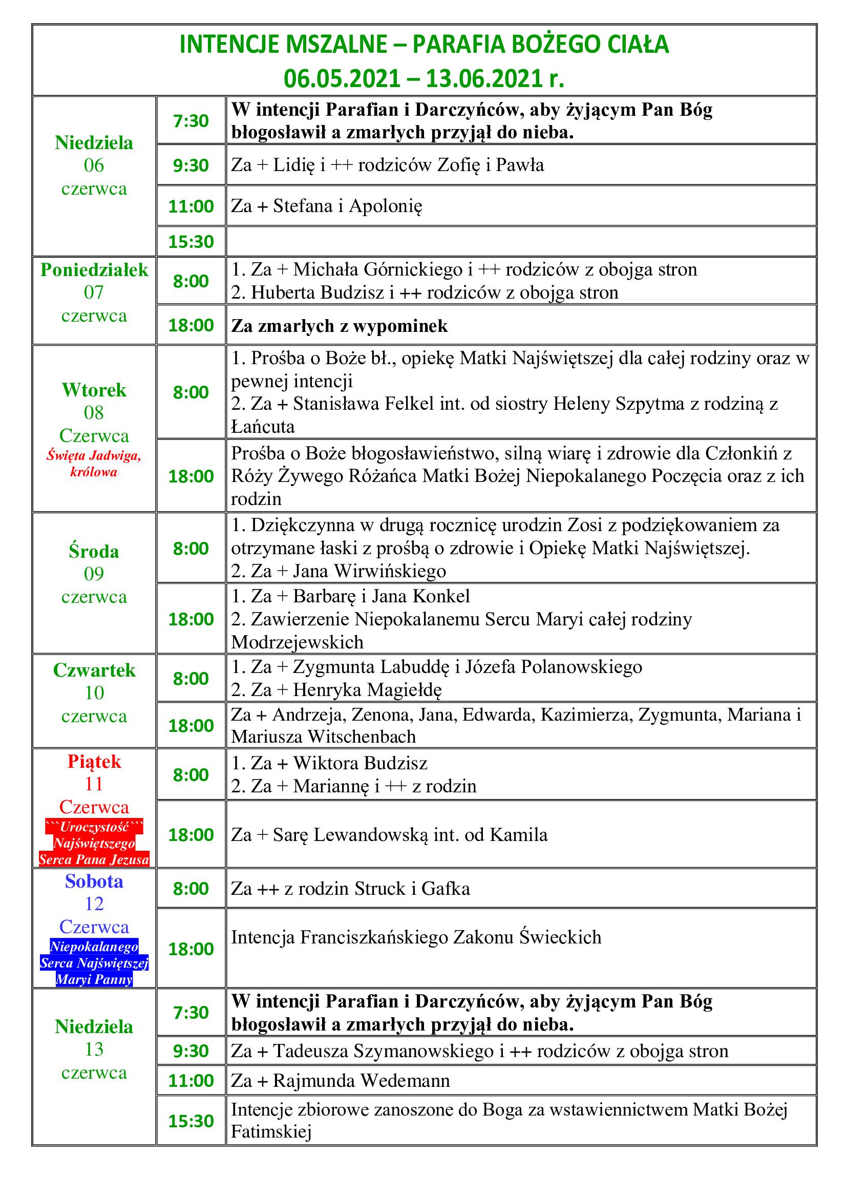 intencje-mszalne-10-niedziela-zwykla-05-06-13-06-2021