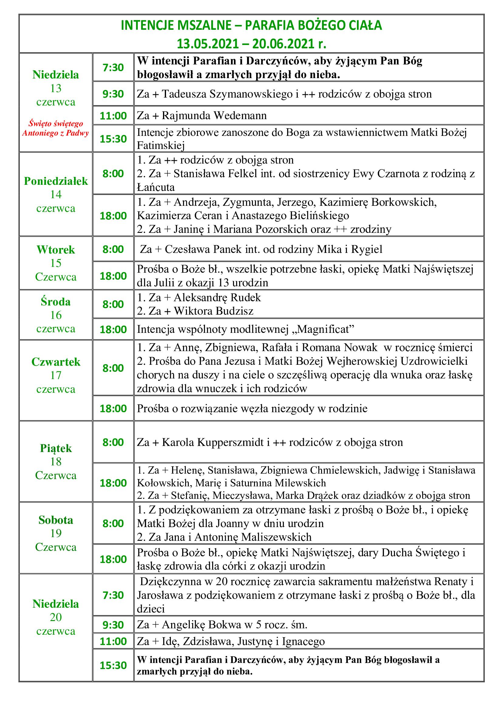 intencje-mszalne-11-niedziela-zwykla-13-06-20-06-2021